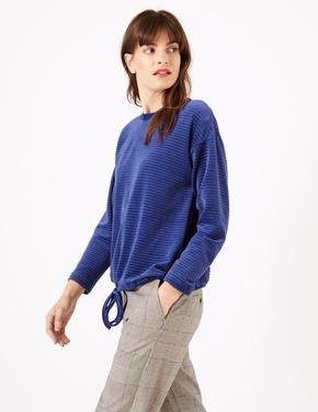 Kadın Mavi Kadife Dokulu Sweatshirt