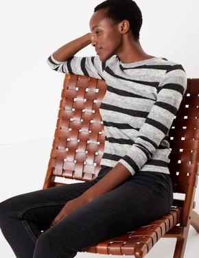 Kadın Siyah Pırıltılı Çizgili Uzun Kollu T-Shirt