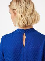 Kadın Lacivert Balıksırtı Desenli Bluz