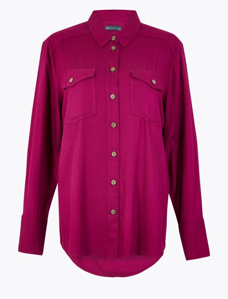 Kadın Pembe Cep Detaylı Relaxed Fit Gömlek