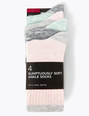 Kadın Gri 4'lü Ankle Çorap Seti