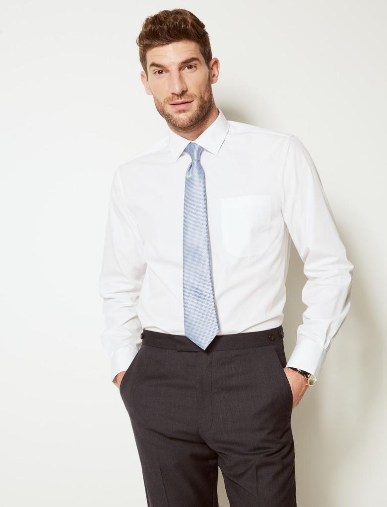 Erkek Beyaz 3'lü Pamuk Karışımlı Tailored Fit Gömlek