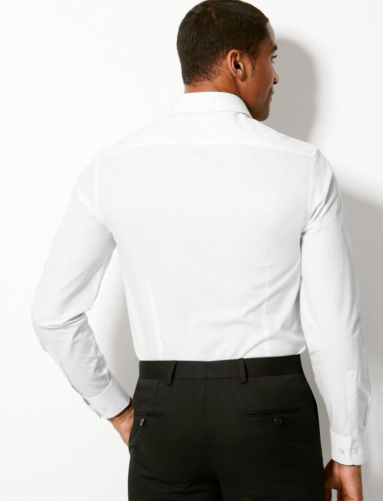 Erkek Beyaz Saf Pamuklu Tailored Fit Gömlek