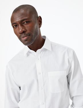Erkek Beyaz 3'lü Regular Fit Kolay Ütülenebilir Gömlek Seti