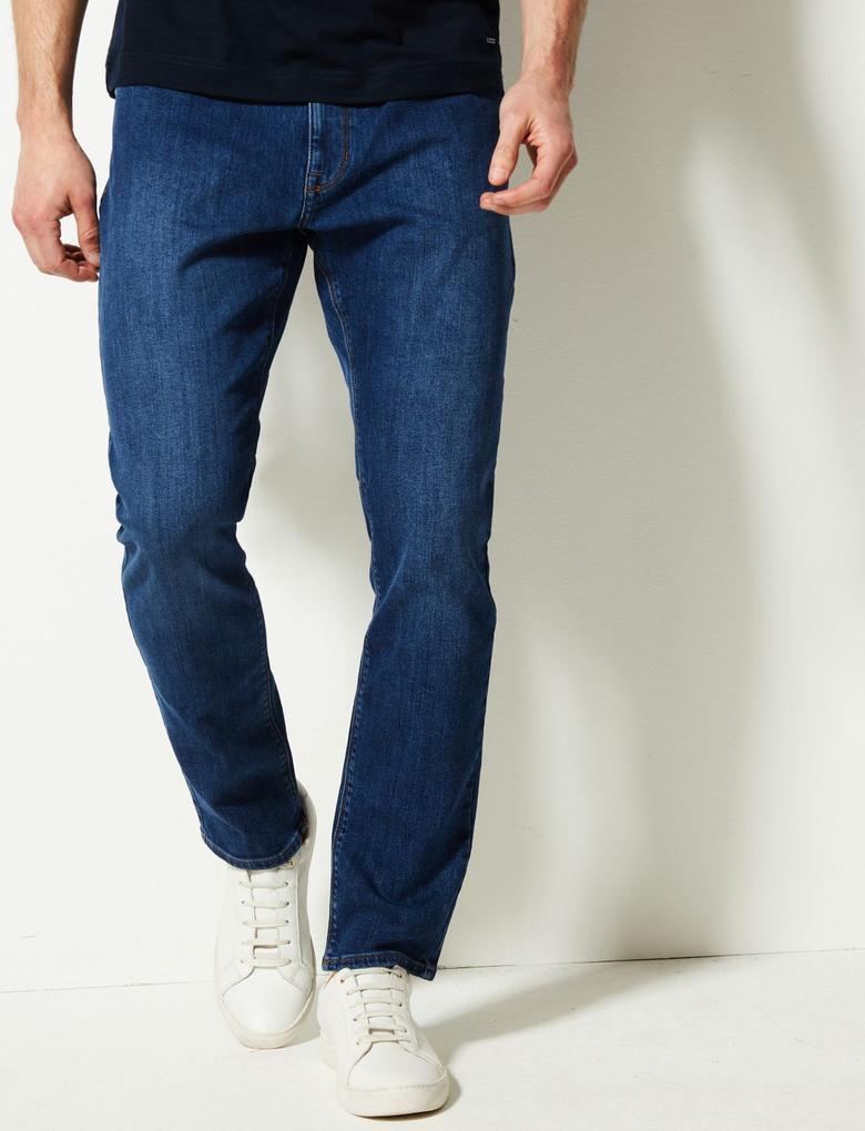 Erkek Mavi Slim Fit Streç Jean Pantolon