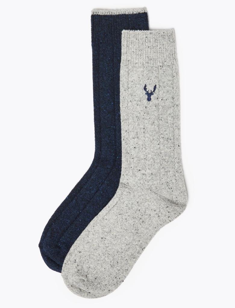 Erkek Gri 2'li İşlemeli Termal Çorap Seti