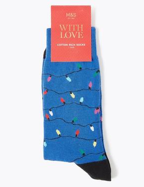Noel Işıklı Çorap