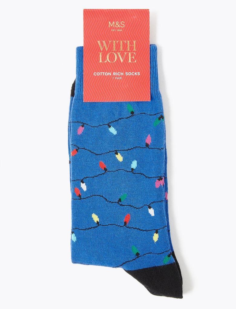 Erkek Siyah Noel Işıklı Çorap