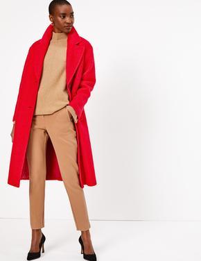 Kadın Kırmızı Uzun Kaban