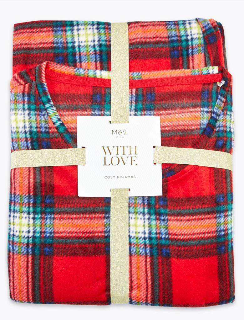 Kadın Kırmızı Ekose Polar Pijama Takımı