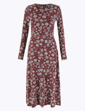 Kadın Kahverengi Çiçek Desenli Fit & Flare Midi Elbise