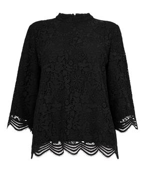 Kadın Siyah Dantelli Kısa Kollu Bluz