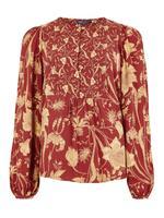 Kadın Kırmızı Çiçek Desenli Bluz