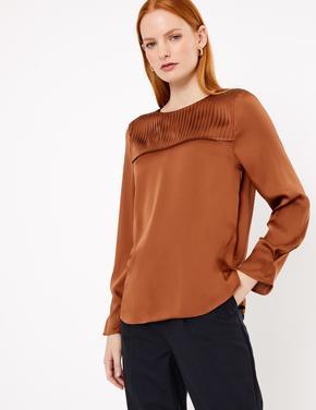Kadın Kahverengi Saten Bluz