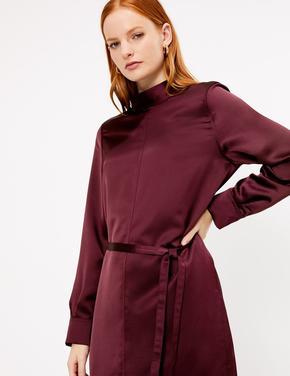Saten Midi Elbise