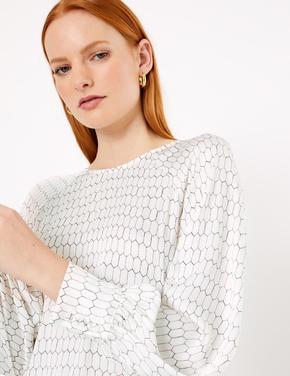 Kadın Bej Balon Kollu Geometrik Desenli Bluz