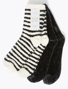 Kadın Siyah 2'li Slipper Çorap Seti