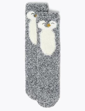 Kadın Gri Penguen Desenli Çorap