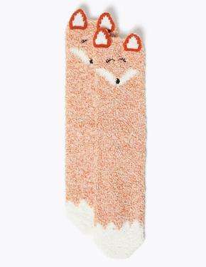 Kadın Turuncu Tilki Desenli Çorap