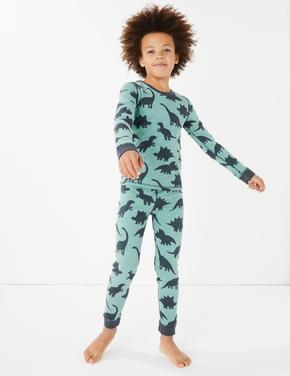 Erkek Çocuk Gri Dinozor Desenli Termal Pijama Takımı