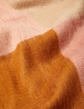 Kadın Pembe Renk Bloklu Atkı ve Eldiven Seti