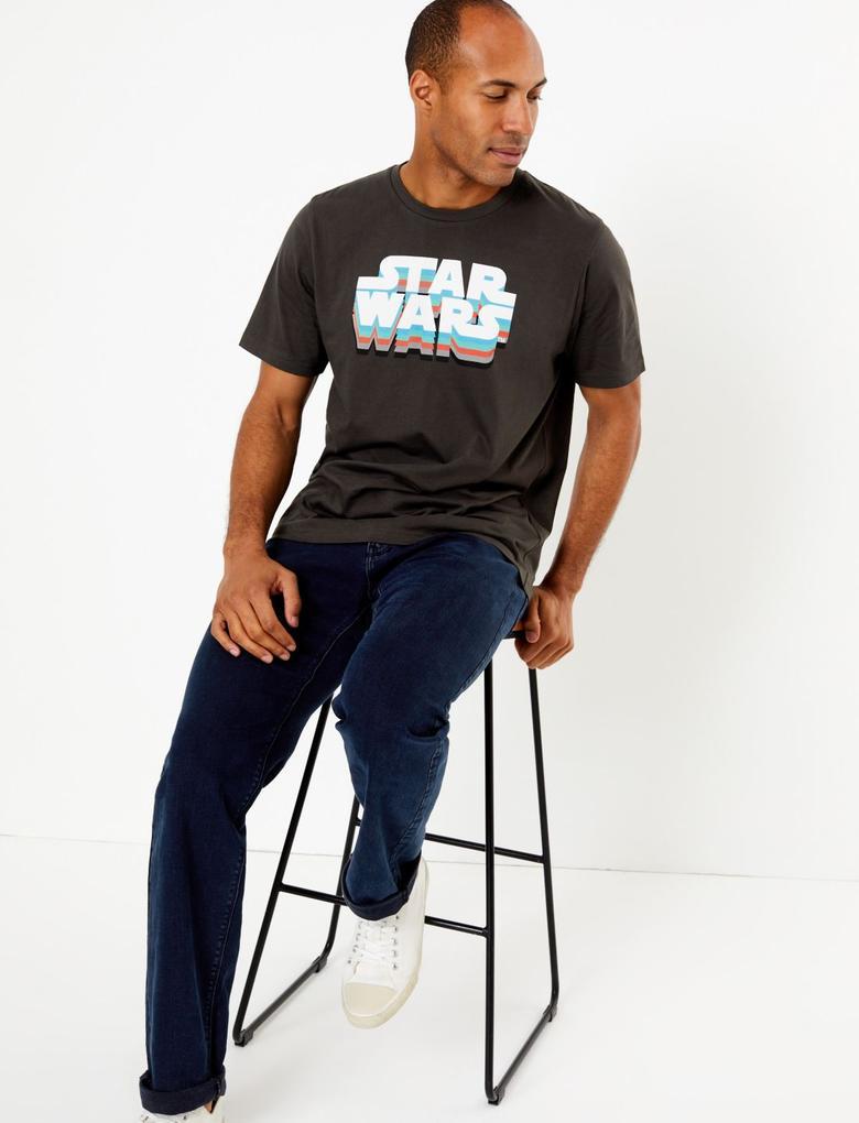 Siyah Star Wars™ Desenli T-Shirt