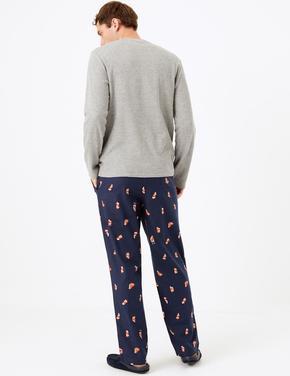 Santa Desenli Pijama Altı