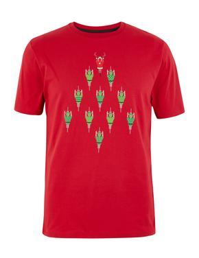 Erkek Kırmızı Saf Pamuklu Kısa Kollu T-shirt