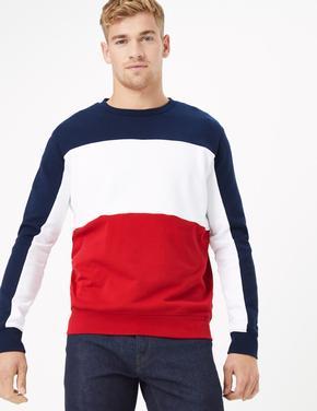Renk Bloklu Yuvarlak Yaka Sweatshirt