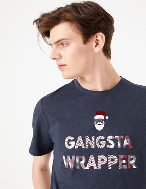 Mavi Saf Pamuk Sloganlı T-Shirt