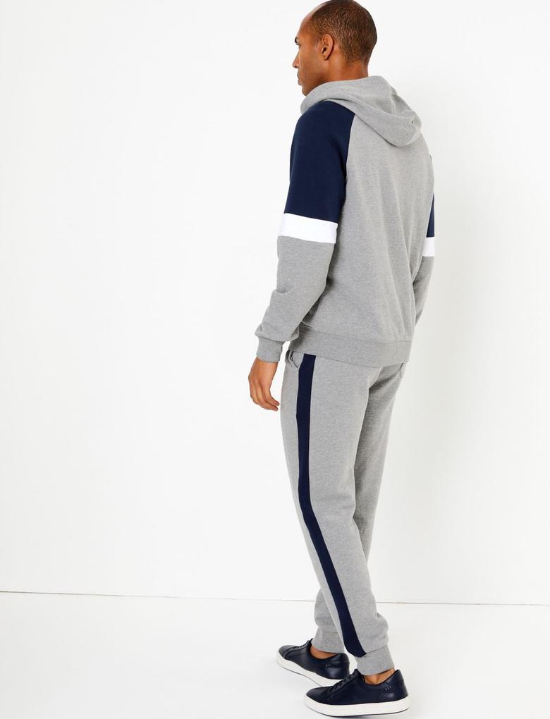 Erkek Gri Fermuarlı Kapüşonlu Sweatshirt