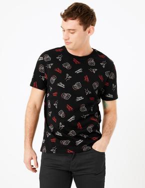 Erkek Siyah Yılbaşı Temalı T-Shirt