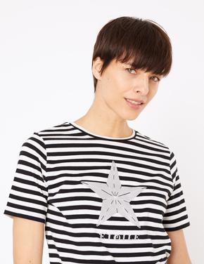 Çizgili Straight Fit T-Shirt