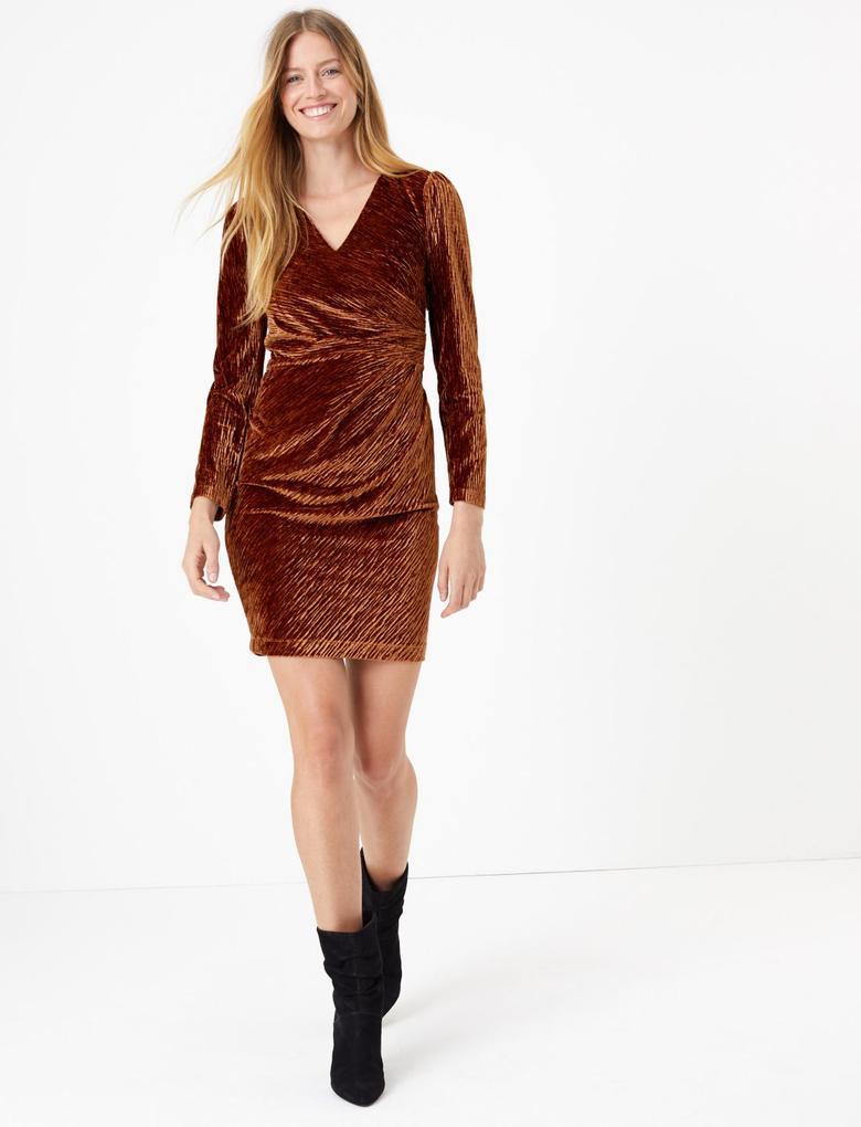 Kadın Kahverengi Kadife Mini Elbise