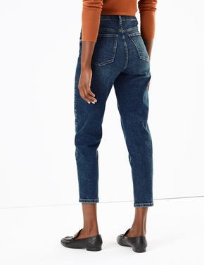 Kadın Lacivert Yüksek Belli Mom Fit Jean Pantolon