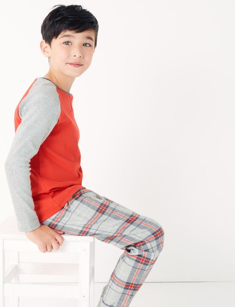 Çocuk Gri 2'li Ekose Pijama Seti