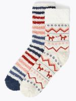 2'li Desenli Yumuşak Dokulu Çorap Seti