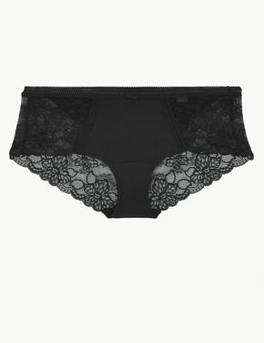 Siyah Body™ Dantelli Low Rise Short Külot