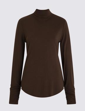 Kadın Kahverengi Balıkçı Yaka Fitilli Uzun Kollu T-Shirt