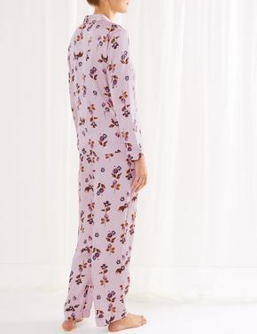 Kadın Mor Saten Çiçek Desenli Pijama Takımı