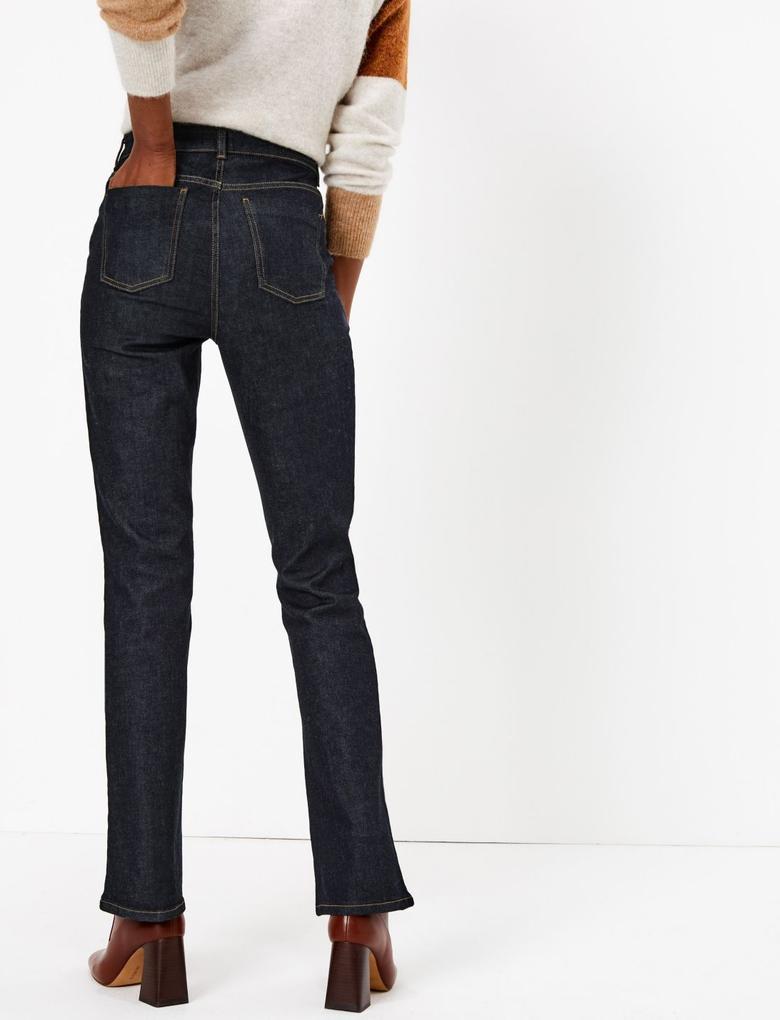 Kadın Lacivert Flare Ankle Grazer Jean Pantolon