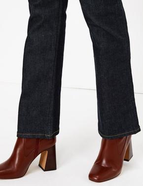 Lacivert Flare Ankle Grazer Jean Pantolon