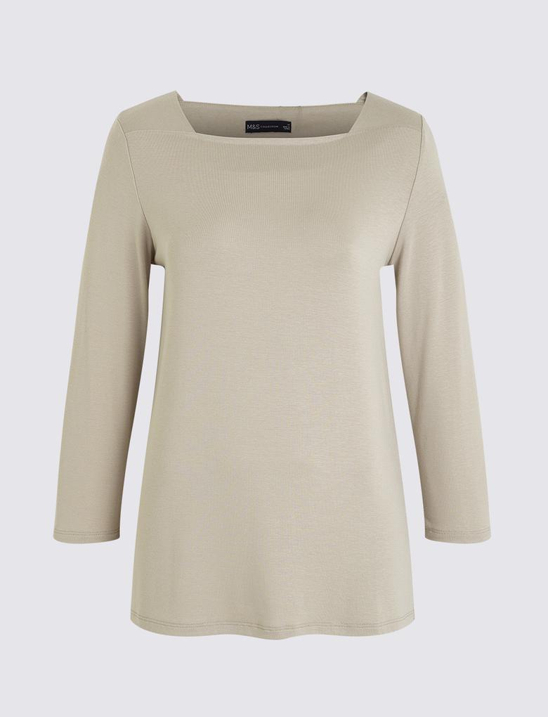 Kadın Bej Kare Yaka 3/4 Kollu T-Shirt