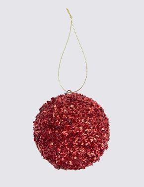 Kırmızı Simli Küre Şeklinde Çam Ağacı Süsü