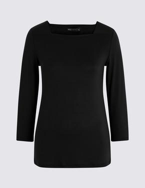 Kadın Siyah Kare Yaka 3/4 Kollu T-Shirt
