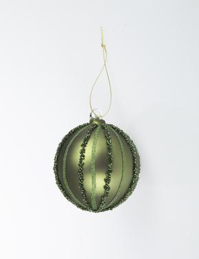 Yeşil Çizgili Küre Şeklinde Çam Ağacı Süsü