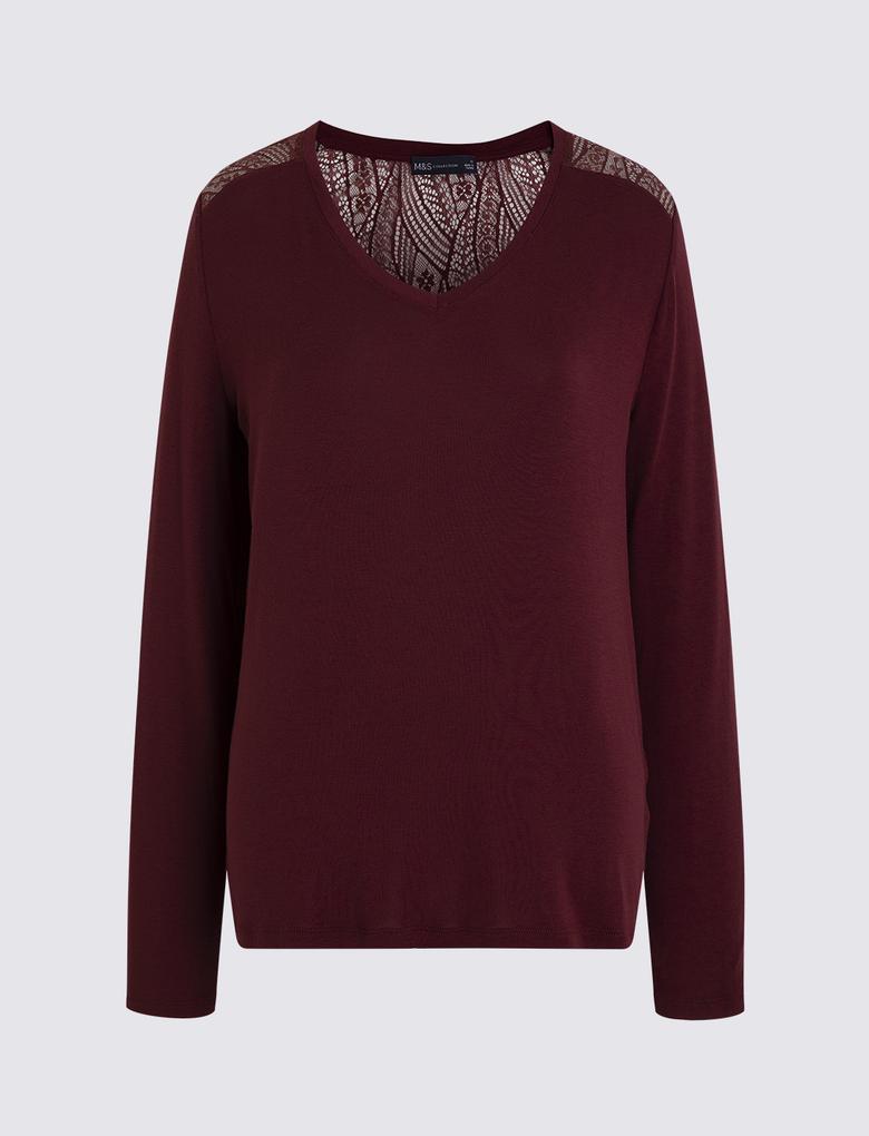 Kadın Bordo Uzun Kollu T-Shirt