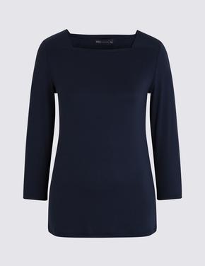 Kadın Lacivert Kare Yaka 3/4 Kollu T-Shirt
