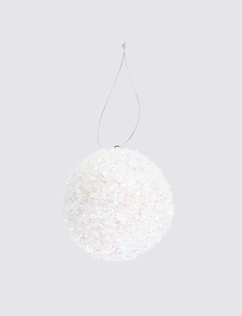Ev Beyaz Simli Küre Şeklinde Çam Ağacı Süsü