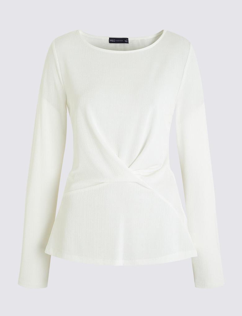 Kadın Beyaz Krinkle Bluz